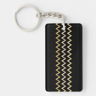 Golden Border - zigzag + your back & ideas Double-Sided Rectangular Acrylic Key Ring