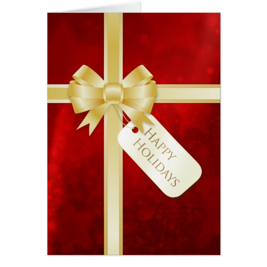 Golden Bow Red Present Holiday card