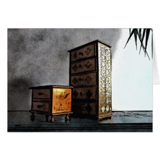 Golden Boxes On Bureau Card
