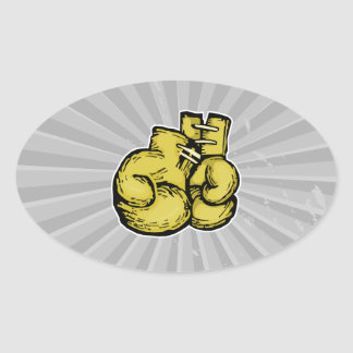 golden boxing gloves graphic oval sticker