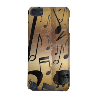 Golden Bronze & Black Music Notes iphone 5 iPod Touch (5th Generation) Case
