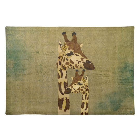 Golden Bronze Giraffes Placemat