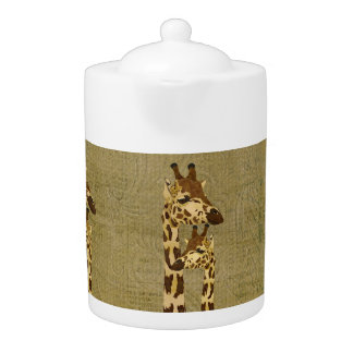 Golden Bronze Giraffes Teapot