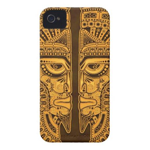 Golden Brown Aztec Twins Blackberry Cases