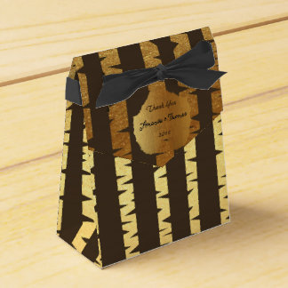 Golden Brown Bearch-Tree Birthday Wedding Favor Favour Box
