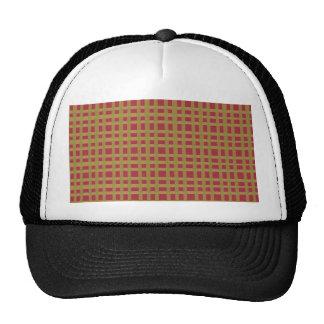 Golden Brown Checks Artist created elegant pattern Hats
