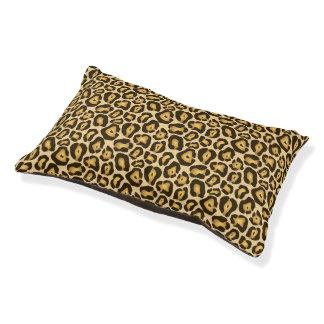Golden Brown Jaguar Animal Skin Print Pattern Pet Bed