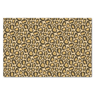 Golden Brown Jaguar Wild Animal Print Pattern Tissue Paper