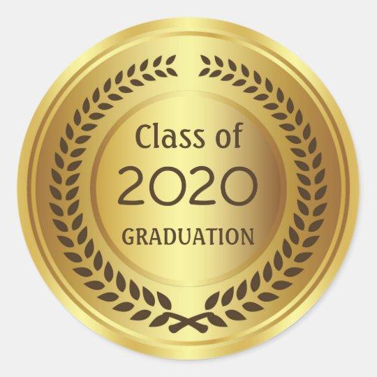 Golden brown laurel wreath Graduation Classic Round Sticker