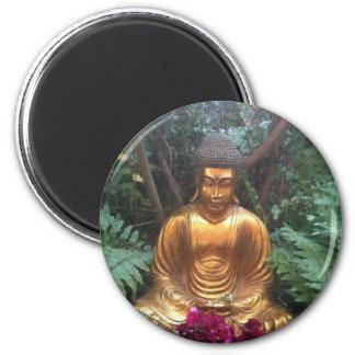 Golden buddha 6 cm round magnet