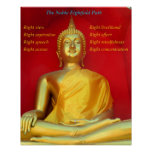Golden Buddha and Noble Eightfold Path Poster