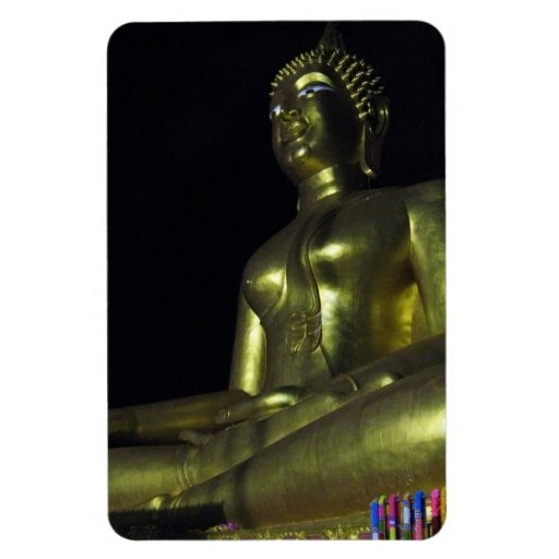 Golden Buddha at Night Rectangular Magnet