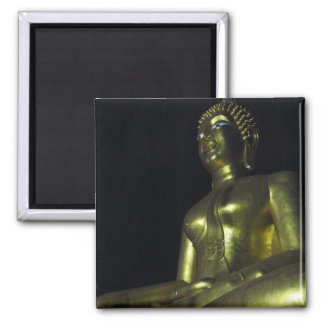 Golden Buddha at Night Square Magnet