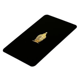 golden buddha in black rectangular photo magnet