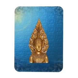 golden buddha in blue rectangular photo magnet