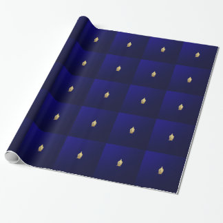 golden buddha in blue wrapping paper