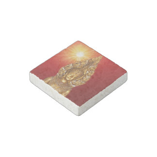golden buddha in red stone magnet