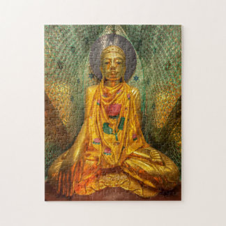 Golden Buddha In Temple Jigsaw Puzzle