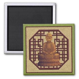 Golden Buddha Pixel Art Square Magnet