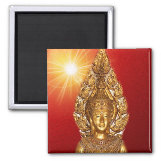 golden buddha square magnet