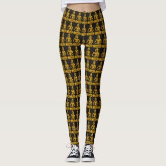 Golden Buddha Statue Pattern Elegant Black Gold Leggings