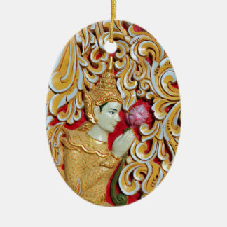 Golden Buddhist meditating with Lotus flower Christmas Ornament