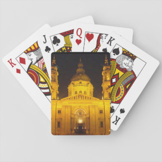 Golden Building at Night Playing Cards