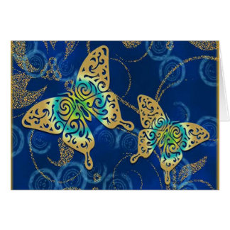 Golden Butterflies Greeting Cards