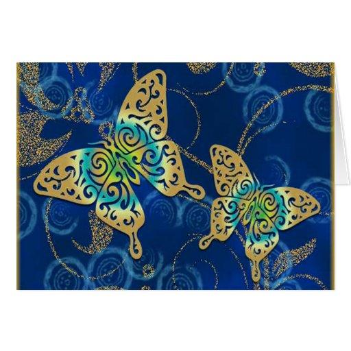 Golden Butterflies Greeting Cards