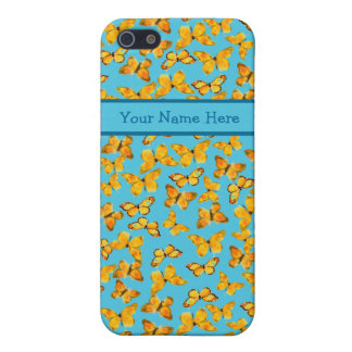 Golden Butterflies in Watercolour on Sky Blue iPhone 5/5S Cover