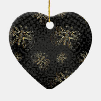 Golden butterflies on black background christmas ornament