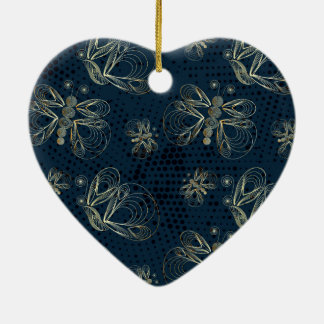 Golden butterflies on navy blue background christmas ornament