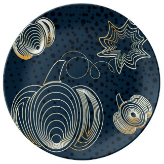 Golden butterflies on navy blue background plate