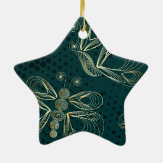 Golden butterflies on turquoise background christmas ornament
