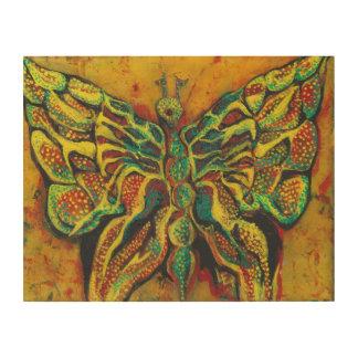 """Golden Butterfly 14""""x11"""" Wood Wall Art"""