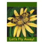 Golden Butterfly Card Postcard