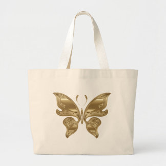 Golden butterfly large tote bag