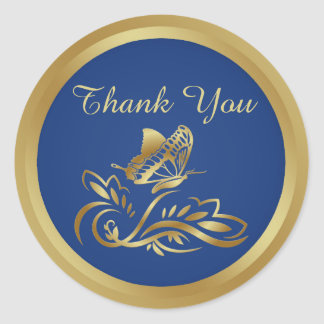 Golden butterfly on royal blue Thank You Sticker