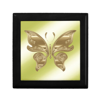 Golden butterfly small square gift box