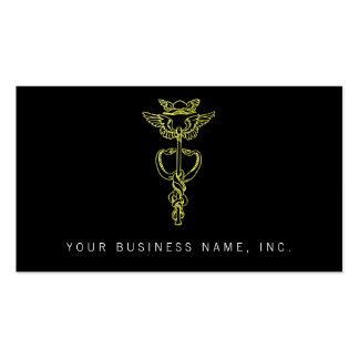 Golden Caduceus Business Card Templates
