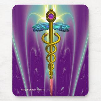 GOLDEN CADUCEUS Medical Symbol , Vibrant Purple Mouse Pad