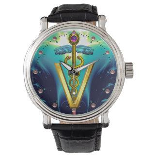 GOLDEN CADUCEUS VETERINARY SYMBOL / Aqua Blue,Teal Watch