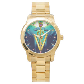 GOLDEN CADUCEUS VETERINARY SYMBOL / Aqua Blue,Teal Wristwatch