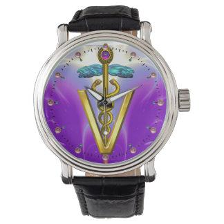 GOLDEN CADUCEUS VETERINARY SYMBOL / Purple Watch