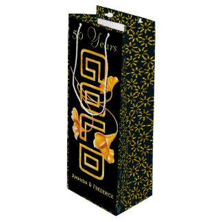 Golden Calla Lily 50th Wedding Anniversary Custom Wine Gift Bag