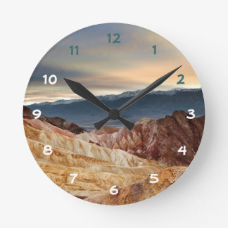 Golden Canyon at Sunset Round Clock