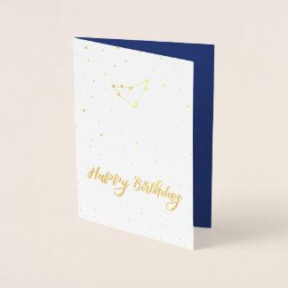Golden Capricorn Constellation Happy Birthday Foil Card