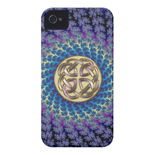 Golden Celtic Knot on a Colourful Spiral Fractal iPhone 4 Covers