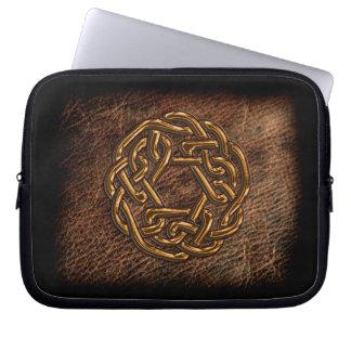 Golden celtic knot on geniune leather laptop sleeve