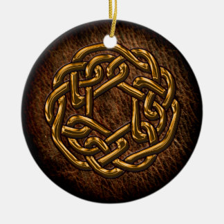 Golden celtic knot on leather christmas ornament